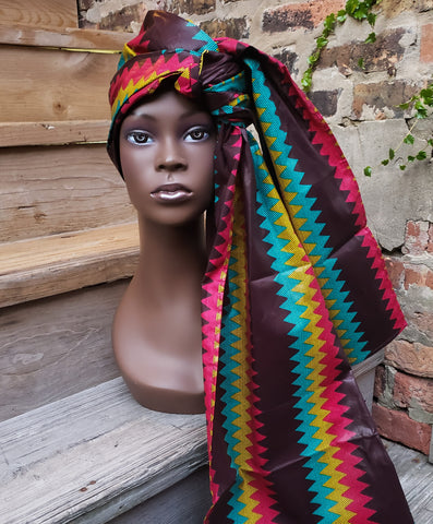 Doek II - Brown, Red Yellow and Green Zig Zag Wax Head Wrap