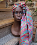 Doek - Pink, Yellow and Turquoise Wax African Head Wrap