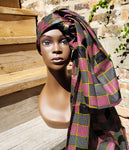 Gele - Black and Burgundy Square Wax Head Wrap