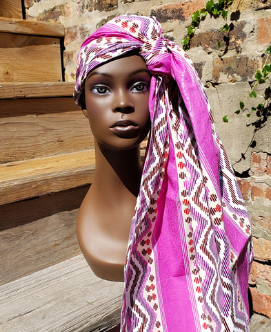 Gele II - Purple and White Tribal African Print Head Wrap
