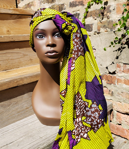 Kitenge - Green and Purple Star Head Wrap (No Wax)
