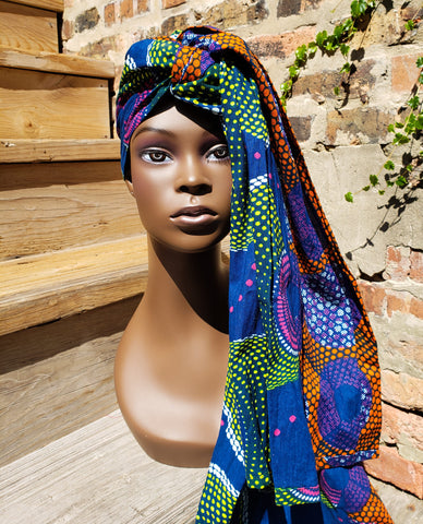 Dhuku - Blue Orange Pink African Print Head Wrap (No Wax)