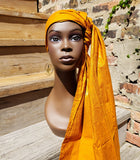 Chichewa - Rust-Orange Wax African Head Wrap With Spiral Detail