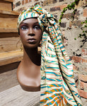 Doek - Cream and Bright Colored Wax African Print Head Wrap