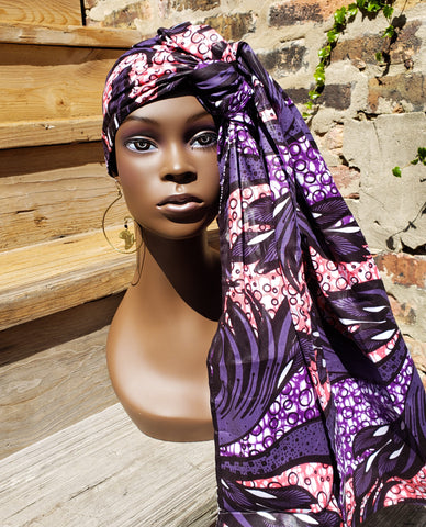 Gele II - Purple African Print Head Wrap