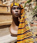 Doek - Orange African Print Wax Head Wrap
