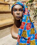 Chichewa - African Print Wax Blue Square Head Wrap