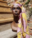 Chichewa - Pink and Yellow African Print Wax Head Wrap