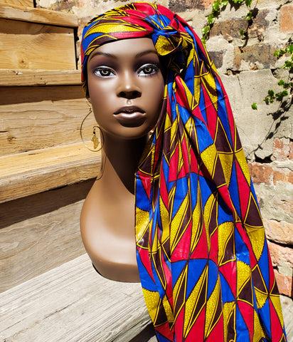 Kitenge - African Print Wax Red Blue and Yellow Head Wrap