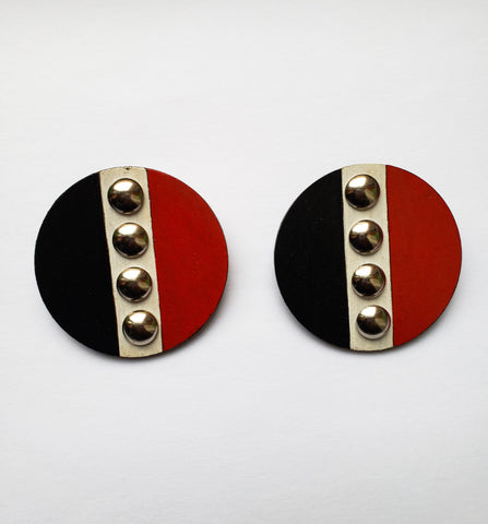 Lerato - Wooden Red and Black Painted Earrings with Silver Studs