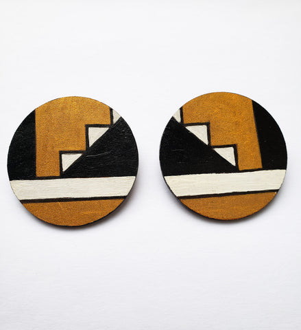 Gugulethu- Ndebele Paintwork Gold Black and White Wood Earrings