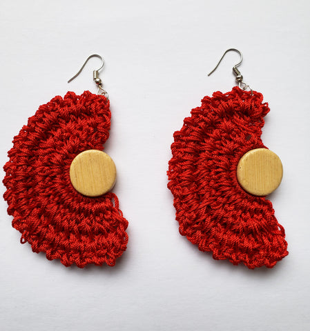 Sarudzai - Red Crochet Half Moon Earrings