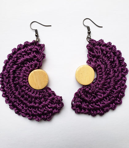 PANGADZAI – PURPLE CROCHET HALF MOON EARRINGS