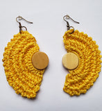 Pamhidzai - Yellow Crochet Half Moon Earrings