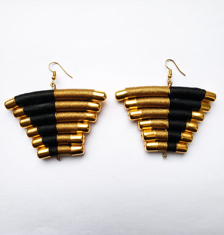 Ndwiga- Black/White and Gold Thread and Brass Triangle Earrings