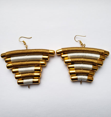 Mukota - Black/White and Gold Bead and Thread Earrings