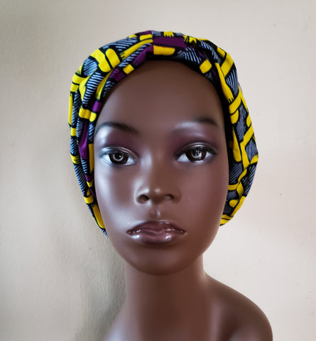 Kodwo - Purple Yellow and Blue African Print Turban