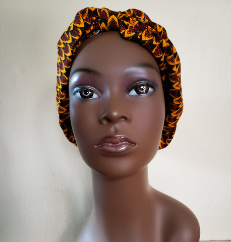 Akan - Yellow Burgundy and Brown African Print Turban