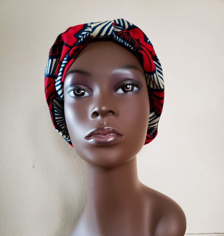 Fram - Red Flower and Blue African Print Turban