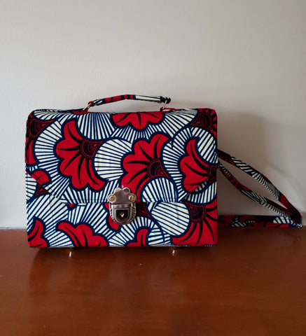 Kofi - African Print Blue and Red Flower Tote/Shoulder Bag