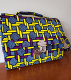 Nana - Yello Purple and Blue African Print Tote/Shoulder Bag