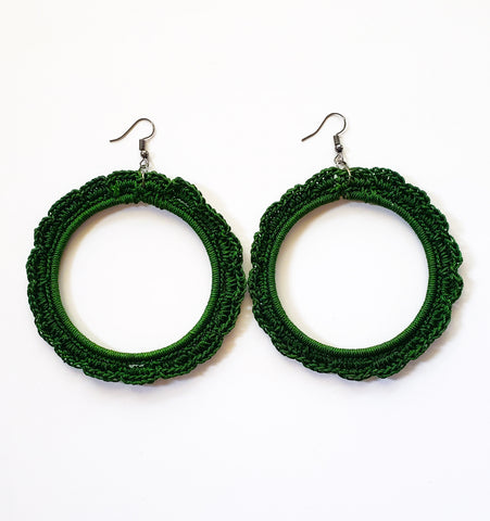 Takunda- Bottle Green Crochet Hoop Earrings