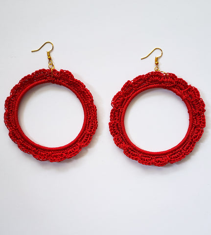 Vimbiso - Red Crochet Hoop Earrings