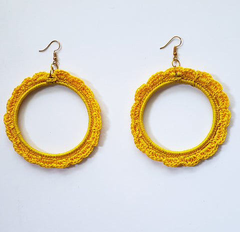 Zuva - Yellow Crochet Hoop Earrings