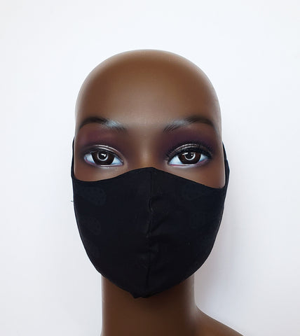 Joojo - Tie Back Black Filter Pocket Reversible Face Mask