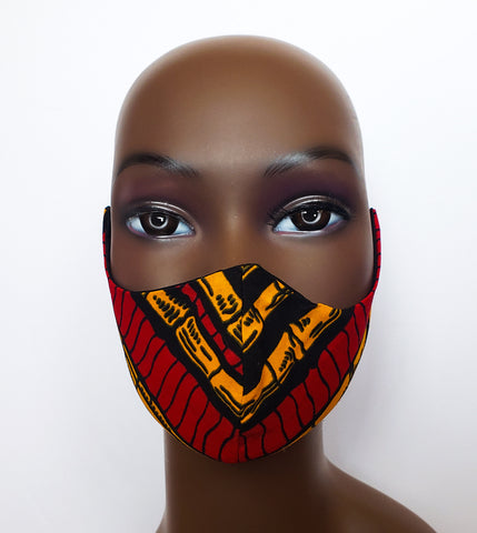 Kuuku - Tie Back Filter Pocket Black Yellow and Red African Print  Face Mask