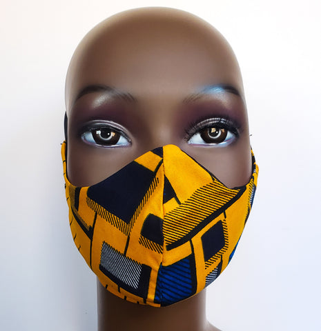 Tauret - Kids'Tie Back Filter Pocket Yellow and Blue Square African Print  Face Mask