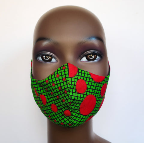 Jama- Elastic Ear Loop Green and Red Polka Dot Face Mask