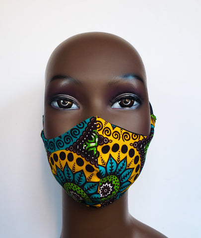 Kabelah - Tie Back Filter Pocket Paisley African Print  Face Mask