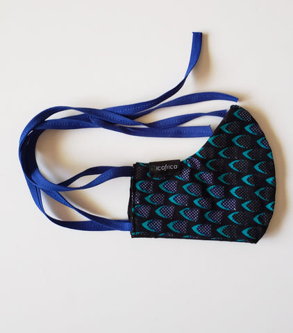 Fifi – Kids' Tie Back Filter Pocket Blue and Black African Print Face Mask