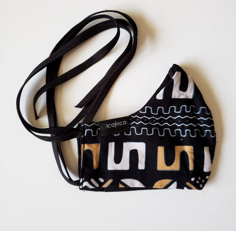 Kwamina – Kids Tie Back Filter Pocket Black White and Tan African Print Face Mask