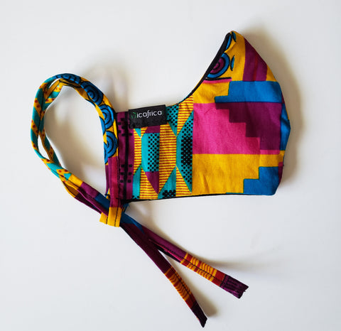 Ebo - Kid's Combo Tie Back and Adjustable Ear Loop Filter Pocket Pink Kente Inspired Face Mask