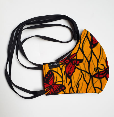 Abeiku - Tie Back Filter Pocket Yellow and Red Butterfly African Print  Face Mask