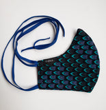 Fifi - Tie Back Filter Pocket Blue and Black African Print Face Mask