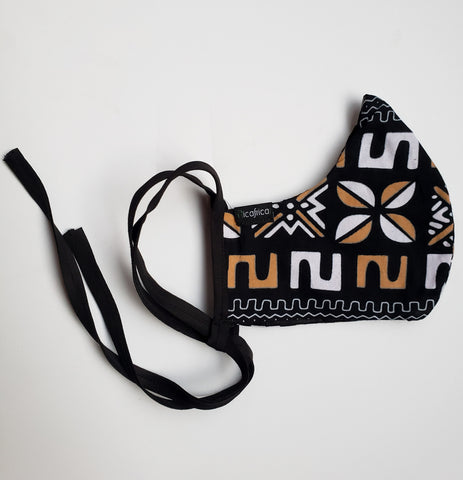 Kwamina - Kids Combo Tie Back and Adjustable Ear Loop Filter Pocket Black White and Tan African Print Face Mask