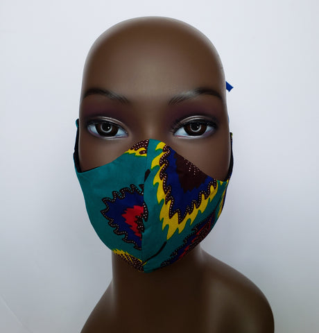 Akwasi - Tie Back Fikter Pocket Turquoise and Multi Color Feather Face Mask