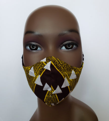 Yoofi - Tie Back Filter Pocket Brown Gold and White African Print  Face Mask