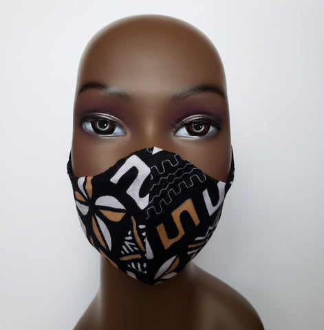 Kwamina - Tie Back Filter Pocket Black White and Tan African Print  Face Mask