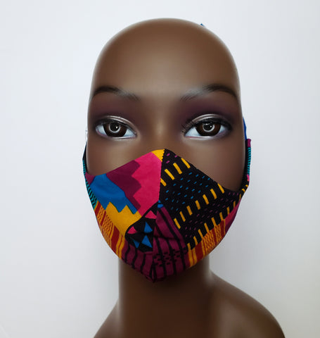 Ebo - Tie Back Filter Pocket Pink Kente Inspired Face Mask