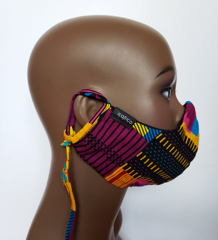 Ebo - Combo Tie Back and Adjustable Ear Loop Filter Pocket Pink Kente Inspired Face Mask
