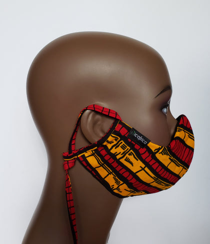 Kuuku - Combo Tie Back and Adjustable Ear Loop Filter Pocket Black Yellow and Red African Print Face Mask
