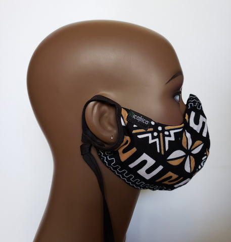 Kwamina - Combo Tie Back and Adjustable Ear Loop Filter Pocket Black White and Tan African Print Face Mask