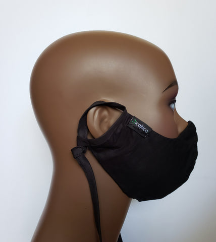 Joojo - Combo Tie Back and Adjustable Ear Loop Filter Pocket Black Face Mask