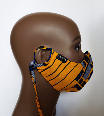 Tauret- Combo Tie Back and Adjustable Ear Loop Filter Pocket African Print Yellow and Blue Square Face Mask