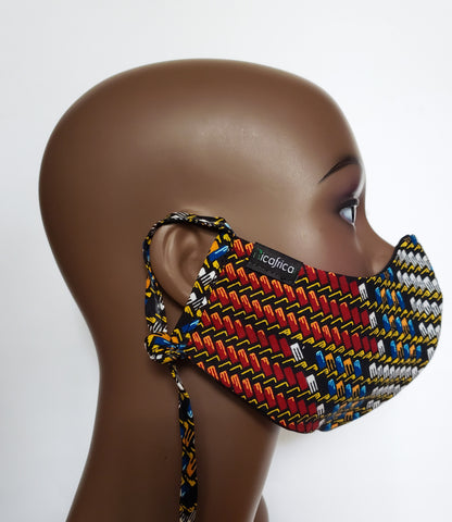 Kanai – Combo Tie Back and Adjustable Ear Loop Filter Pocket Multicolor African Print Face Mask