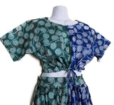 Komla - Green and Blue Floral African Print Draw String Crop Top